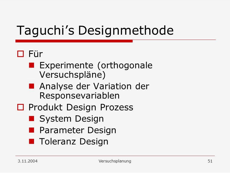 3.11.2004Versuchsplanung51 Taguchis Designmethode Für Experimente (orthogonale Versuchspläne) Analyse der Variation der Responsevariablen Produkt Desi