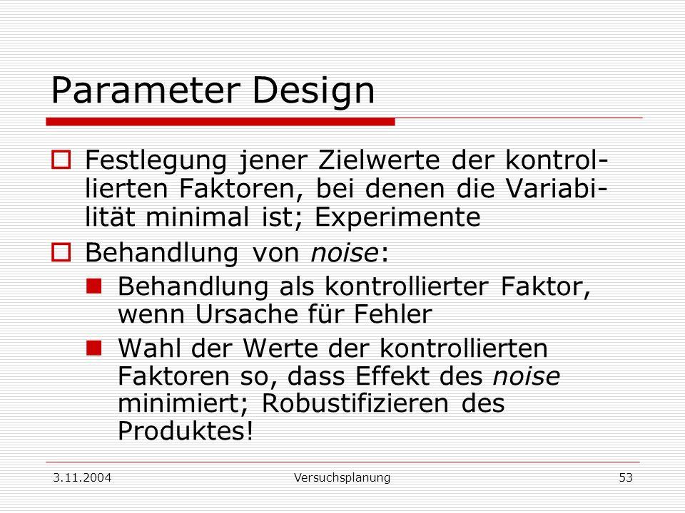 3.11.2004Versuchsplanung53 Parameter Design Festlegung jener Zielwerte der kontrol- lierten Faktoren, bei denen die Variabi- lität minimal ist; Experi