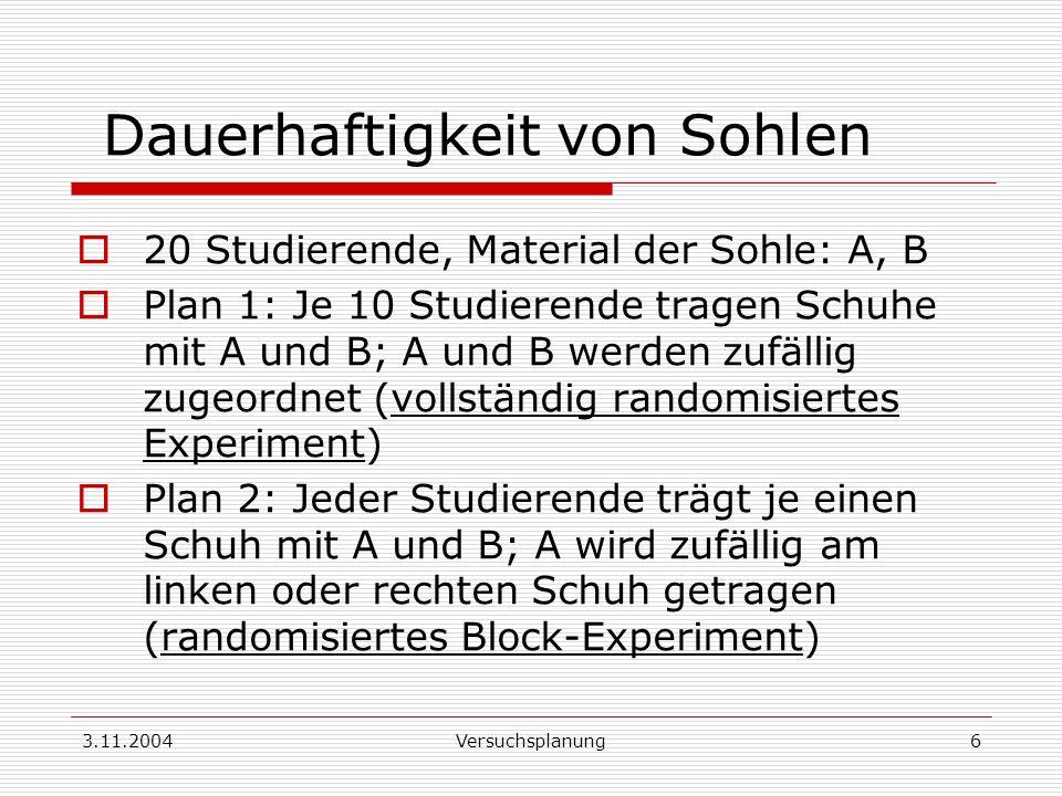 3.11.2004Versuchsplanung6 20 Studierende, Material der Sohle: A, B Plan 1: Je 10 Studierende tragen Schuhe mit A und B; A und B werden zufällig zugeor