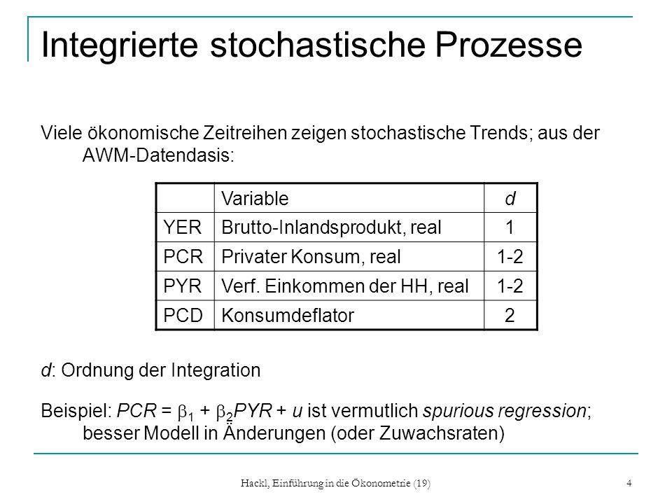 Hackl, Einführung in die Ökonometrie (19) 4 Integrierte stochastische Prozesse Viele ökonomische Zeitreihen zeigen stochastische Trends; aus der AWM-D