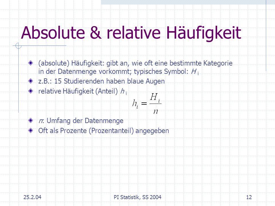 25.2.04PI Statistik, SS 200412 Absolute & relative Häufigkeit (absolute) Häufigkeit: gibt an, wie oft eine bestimmte Kategorie in der Datenmenge vorko