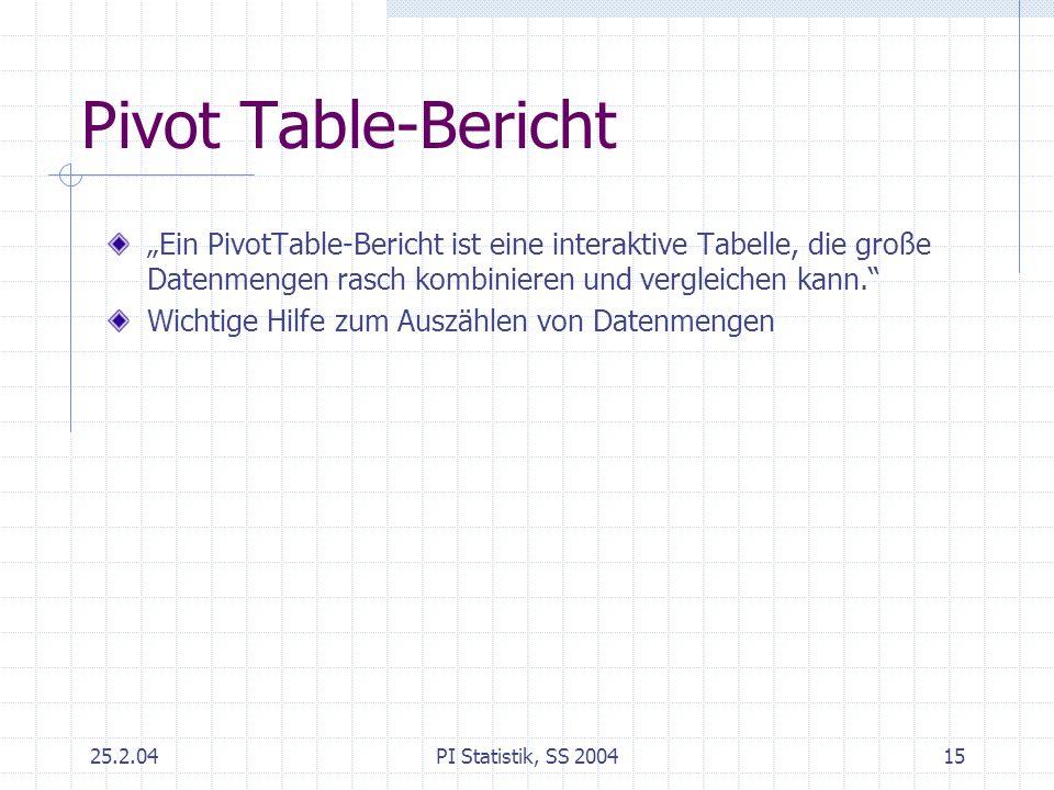 25.2.04PI Statistik, SS 200415 Pivot Table-Bericht Ein PivotTable-Bericht ist eine interaktive Tabelle, die große Datenmengen rasch kombinieren und ve