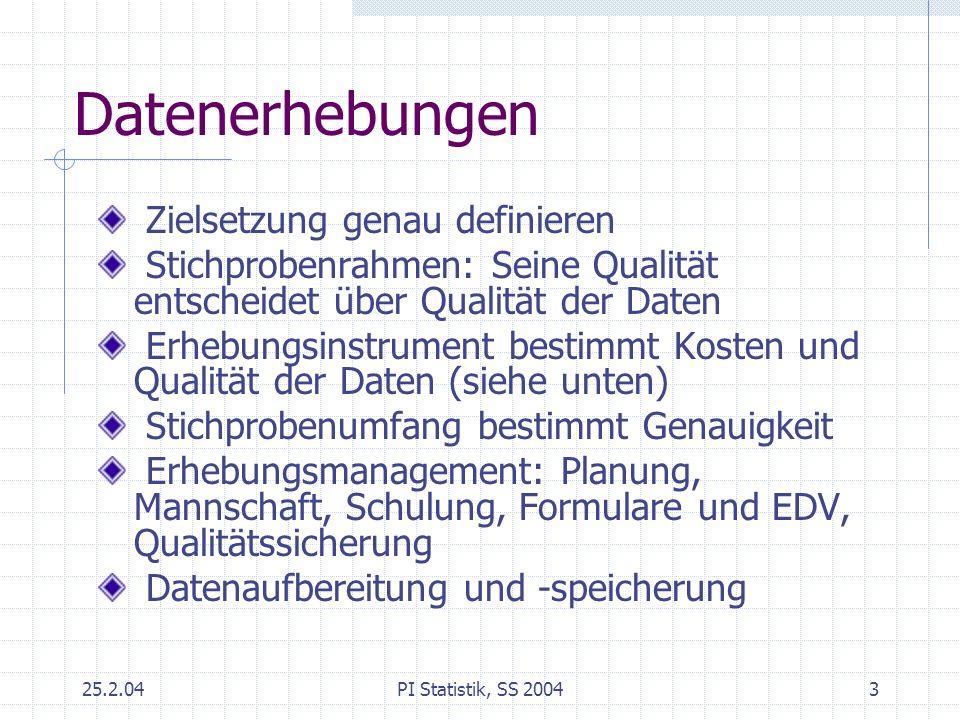 25.2.04PI Statistik, SS 20043 Datenerhebungen Zielsetzung genau definieren Stichprobenrahmen: Seine Qualität entscheidet über Qualität der Daten Erheb
