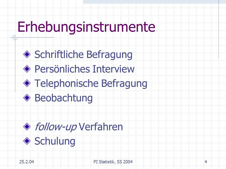 25.2.04PI Statistik, SS 20044 Erhebungsinstrumente Schriftliche Befragung Persönliches Interview Telephonische Befragung Beobachtung follow-up Verfahr