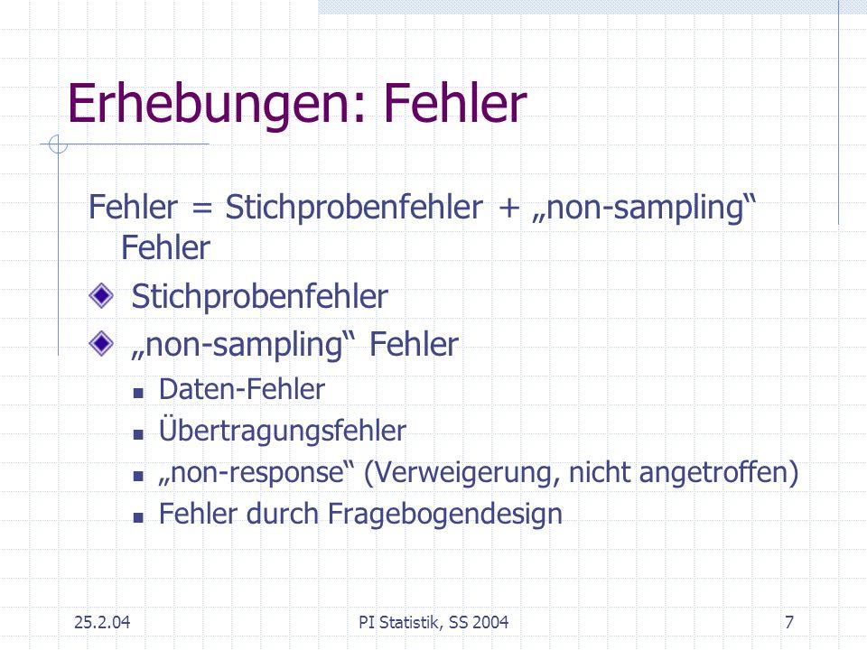 25.2.04PI Statistik, SS 20047 Erhebungen: Fehler Fehler = Stichprobenfehler + non-sampling Fehler Stichprobenfehler non-sampling Fehler Daten-Fehler Ü