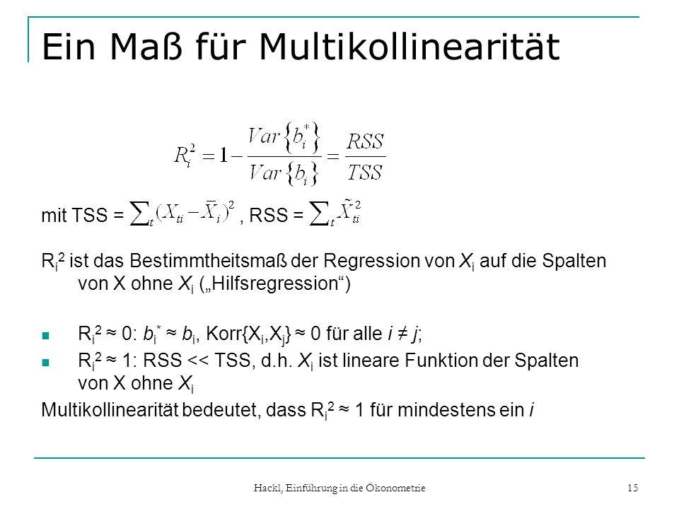 Hackl, Einführung in die Ökonometrie 15 Ein Maß für Multikollinearität mit TSS =, RSS = R i 2 ist das Bestimmtheitsmaß der Regression von X i auf die