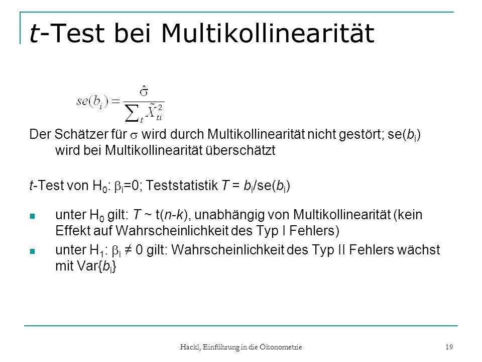 Hackl, Einführung in die Ökonometrie 19 t-Test bei Multikollinearität Der Schätzer für wird durch Multikollinearität nicht gestört; se(b i ) wird bei