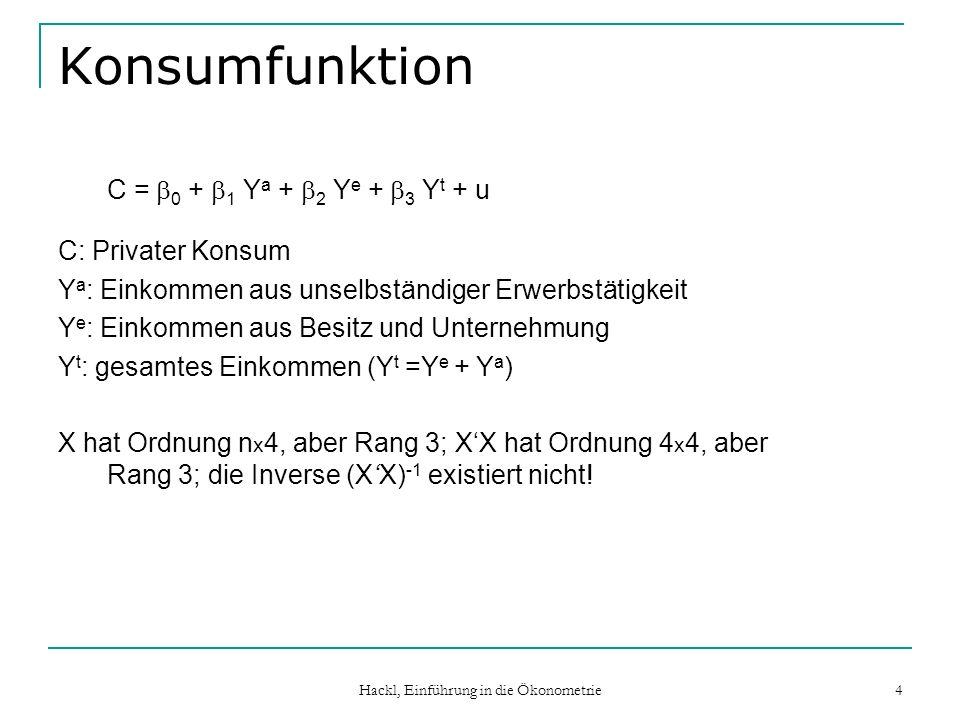 Hackl, Einführung in die Ökonometrie 5 Korrelierte Regressoren Ordnung von X: n x k XX kann eine nahezu singuläre Matrix sein Invertieren von XX liefert sehr große Werte Wegen Var{b t } = 2 (X tX t ) -1 sind Standardabweichungen der Schätzer gross Die t-Werte sind klein, die Macht der t-Tests ist reduziert