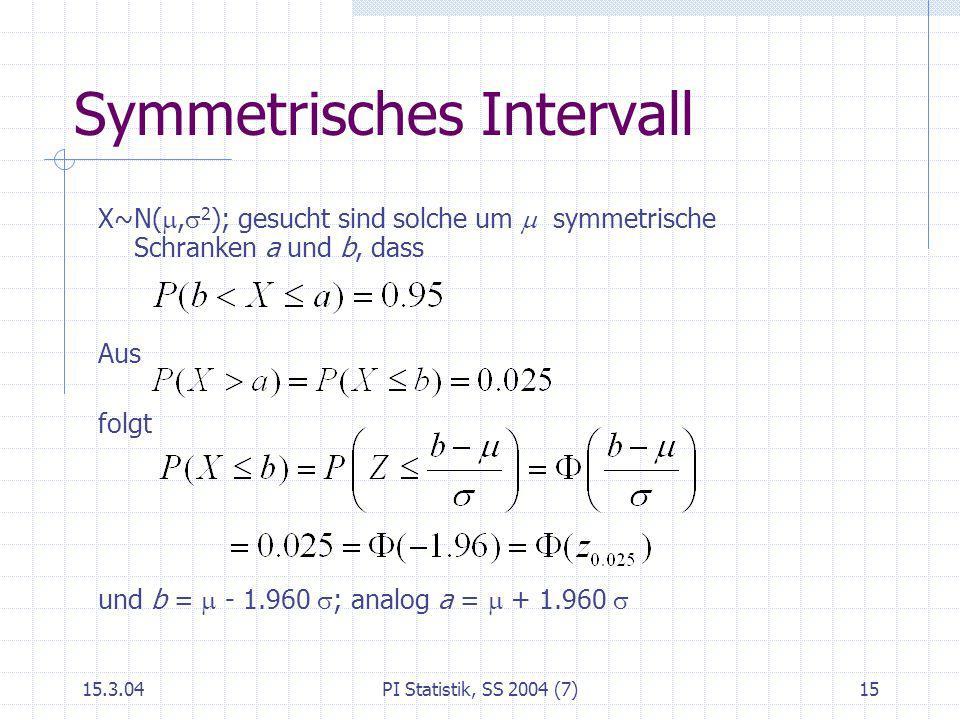 15.3.04PI Statistik, SS 2004 (7)15 Symmetrisches Intervall X~N(, 2 ); gesucht sind solche um symmetrische Schranken a und b, dass Aus folgt und b = -