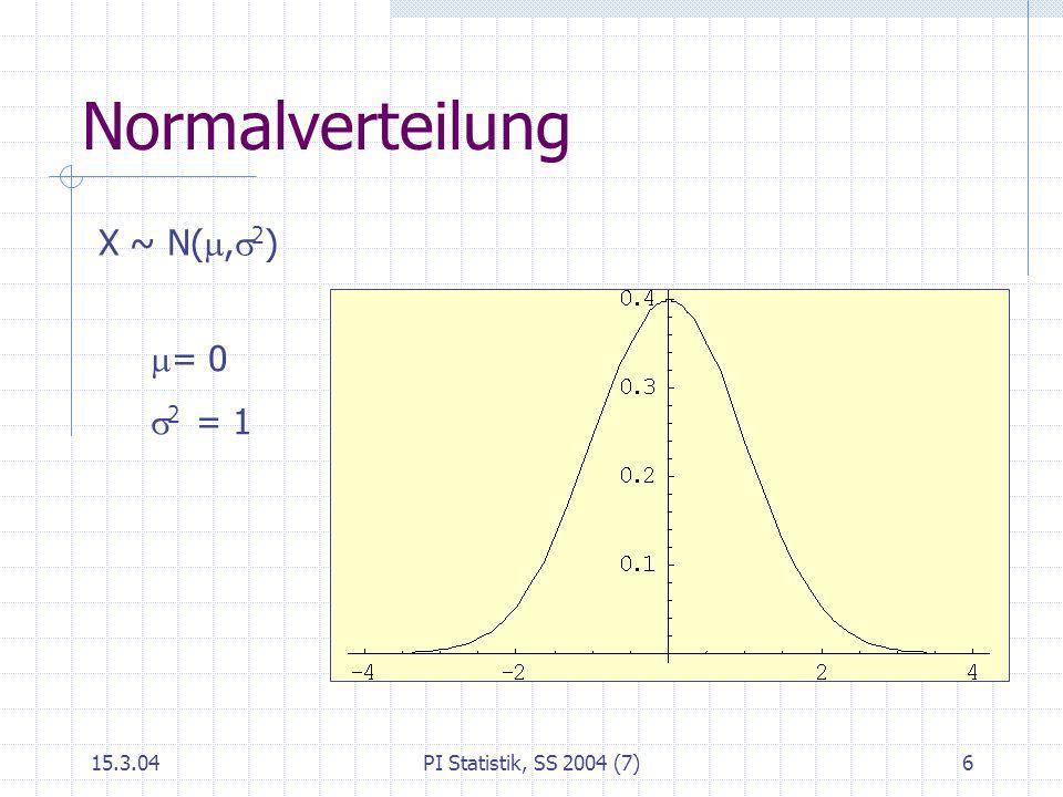 15.3.04PI Statistik, SS 2004 (7)6 Normalverteilung X ~ N(, 2 ) = 0 2 = 1