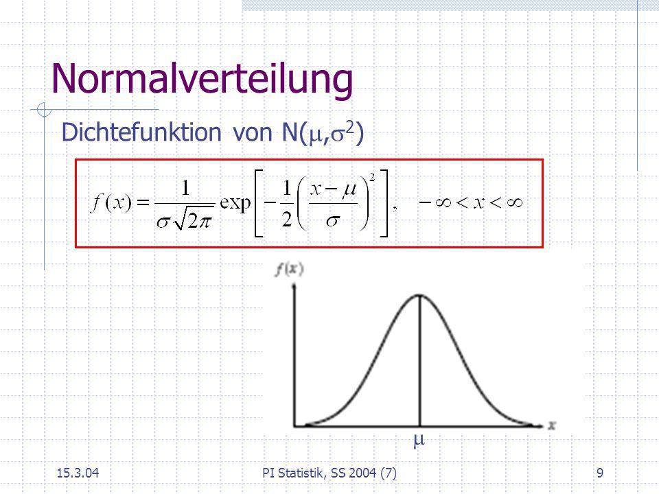 15.3.04PI Statistik, SS 2004 (7)9 Normalverteilung Dichtefunktion von N(, 2 )