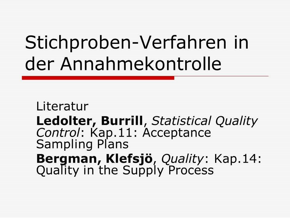 Stichproben-Verfahren in der Annahmekontrolle Literatur Ledolter, Burrill, Statistical Quality Control: Kap.11: Acceptance Sampling Plans Bergman, Kle