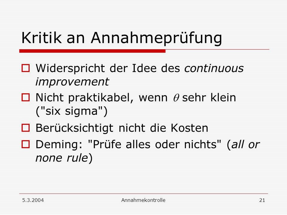 5.3.2004Annahmekontrolle21 Kritik an Annahmeprüfung Widerspricht der Idee des continuous improvement Nicht praktikabel, wenn sehr klein (