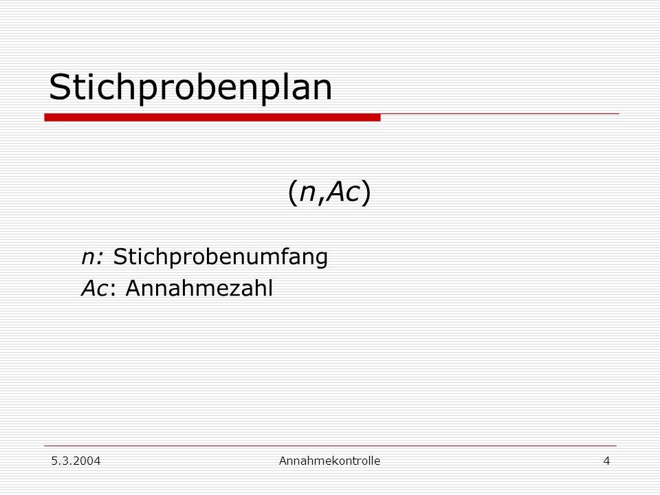 5.3.2004Annahmekontrolle4 Stichprobenplan (n,Ac) n: Stichprobenumfang Ac: Annahmezahl