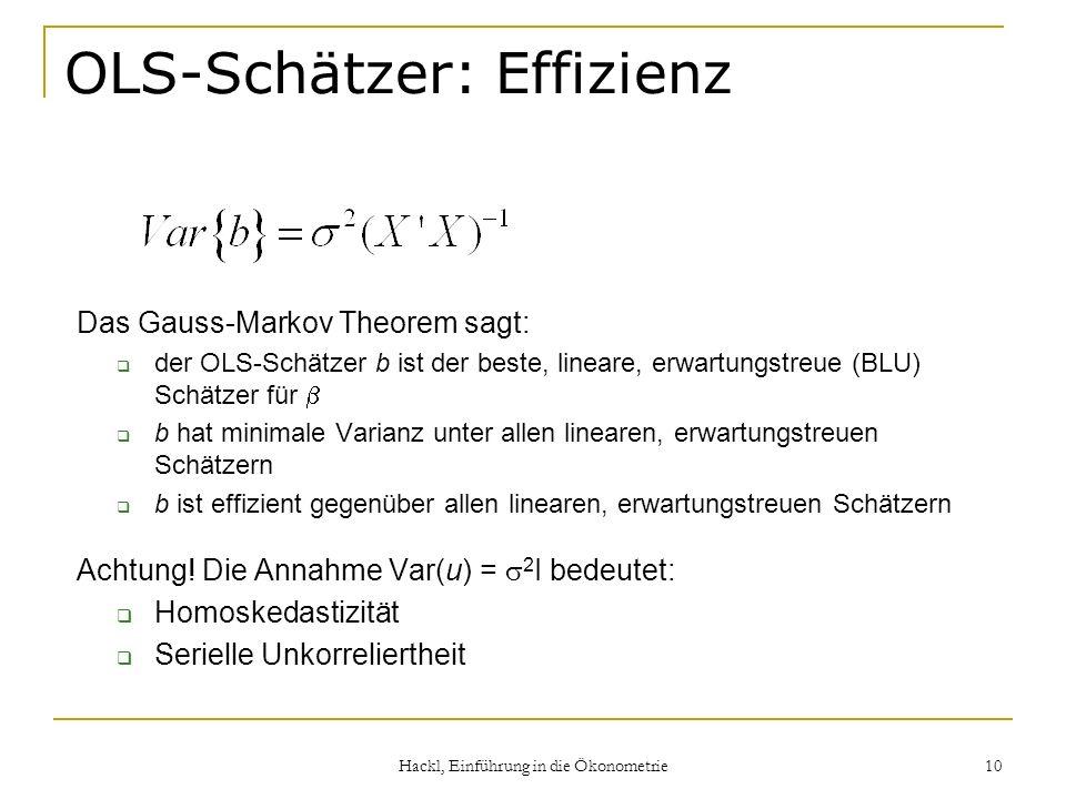 Hackl, Einführung in die Ökonometrie 10 OLS-Schätzer: Effizienz Das Gauss-Markov Theorem sagt: der OLS-Schätzer b ist der beste, lineare, erwartungstr