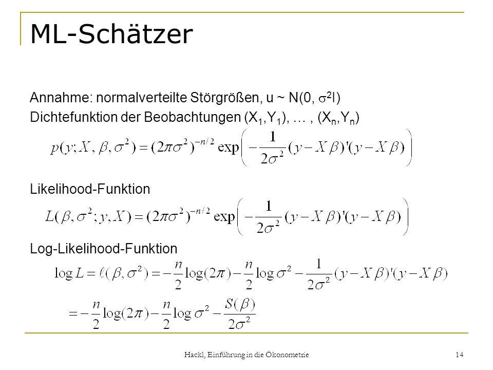Hackl, Einführung in die Ökonometrie 14 ML-Schätzer Annahme: normalverteilte Störgrößen, u ~ N(0, 2 I) Dichtefunktion der Beobachtungen (X 1,Y 1 ), …,