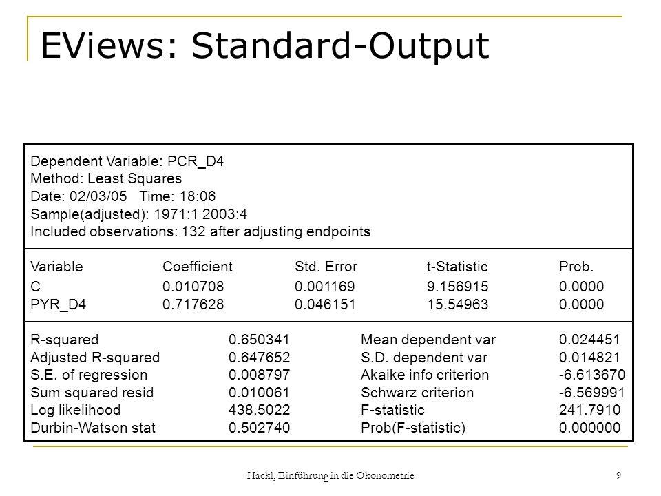 Hackl, Einführung in die Ökonometrie 9 EViews: Standard-Output Dependent Variable: PCR_D4 Method: Least Squares Date: 02/03/05 Time: 18:06 Sample(adju