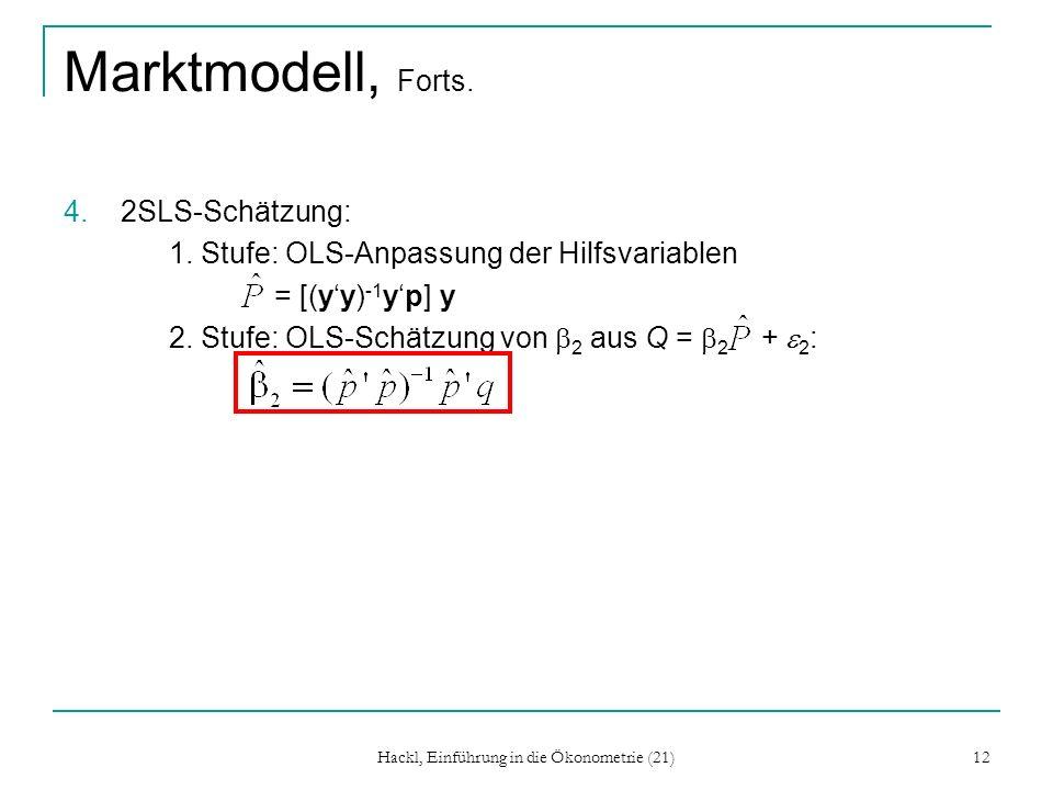 Hackl, Einführung in die Ökonometrie (21) 12 Marktmodell, Forts. 4.2SLS-Schätzung: 1. Stufe: OLS-Anpassung der Hilfsvariablen = [(yy) -1 yp] y 2. Stuf