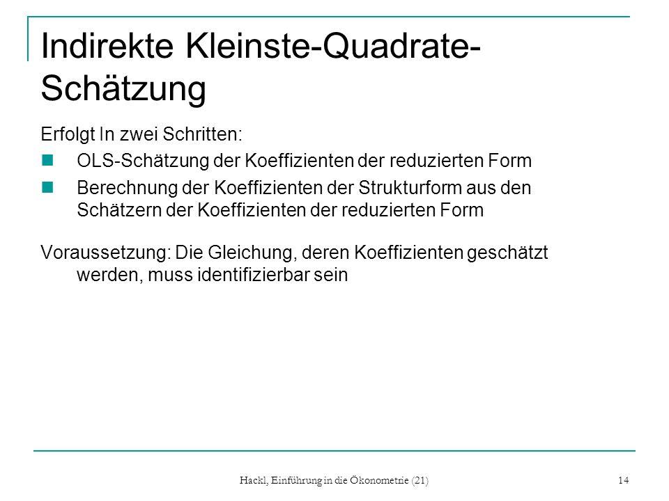 Hackl, Einführung in die Ökonometrie (21) 14 Indirekte Kleinste-Quadrate- Schätzung Erfolgt In zwei Schritten: OLS-Schätzung der Koeffizienten der red