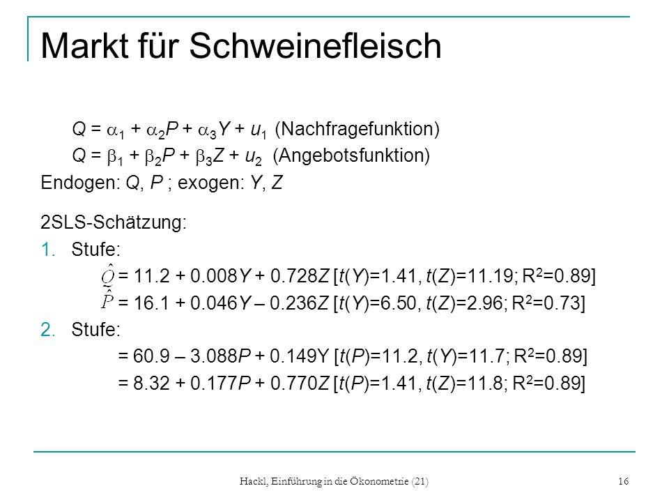 Hackl, Einführung in die Ökonometrie (21) 16 Markt für Schweinefleisch Q = 1 + 2 P + 3 Y + u 1 (Nachfragefunktion) Q = 1 + 2 P + 3 Z + u 2 (Angebotsfunktion) Endogen: Q, P ; exogen: Y, Z 2SLS-Schätzung: 1.Stufe: = 11.2 + 0.008Y + 0.728Z [t(Y)=1.41, t(Z)=11.19; R 2 =0.89] = 16.1 + 0.046Y – 0.236Z [t(Y)=6.50, t(Z)=2.96; R 2 =0.73] 2.Stufe: = 60.9 – 3.088P + 0.149Y [t(P)=11.2, t(Y)=11.7; R 2 =0.89] = 8.32 + 0.177P + 0.770Z [t(P)=1.41, t(Z)=11.8; R 2 =0.89]
