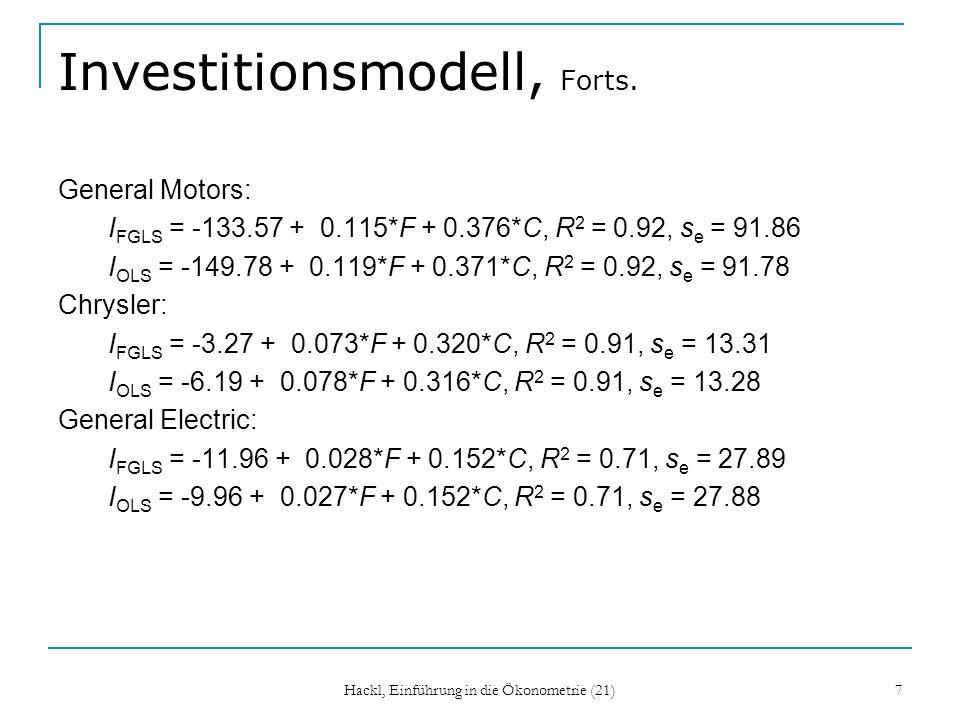 Hackl, Einführung in die Ökonometrie (21) 7 Investitionsmodell, Forts. General Motors: I FGLS = -133.57 + 0.115*F + 0.376*C, R 2 = 0.92, s e = 91.86 I