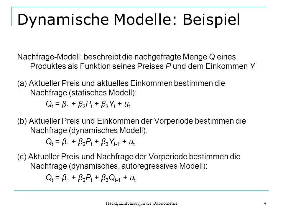 Hackl, Einführung in die Ökonometrie 4 Dynamische Modelle: Beispiel Nachfrage-Modell: beschreibt die nachgefragte Menge Q eines Produktes als Funktion