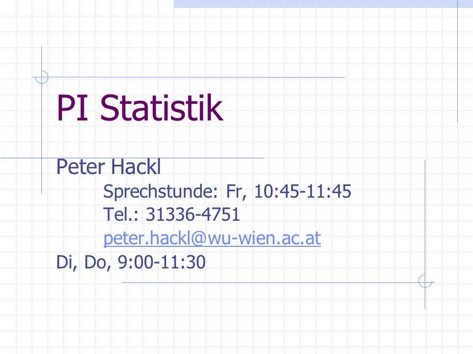 PI Statistik Peter Hackl Sprechstunde: Fr, 10:45-11:45 Tel.: 31336-4751 peter.hackl@wu-wien.ac.at Di, Do, 9:00-11:30