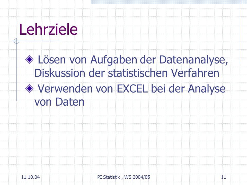 11.10.04PI Statistik, WS 2004/0511 Lehrziele Lösen von Aufgaben der Datenanalyse, Diskussion der statistischen Verfahren Verwenden von EXCEL bei der Analyse von Daten