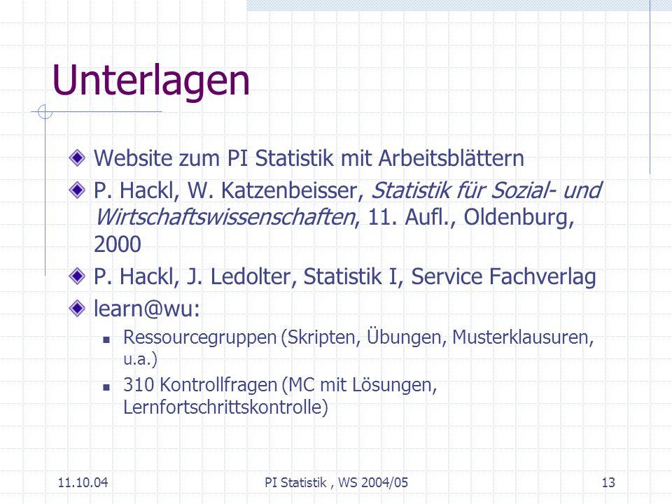 11.10.04PI Statistik, WS 2004/0513 Unterlagen Website zum PI Statistik mit Arbeitsblättern P.