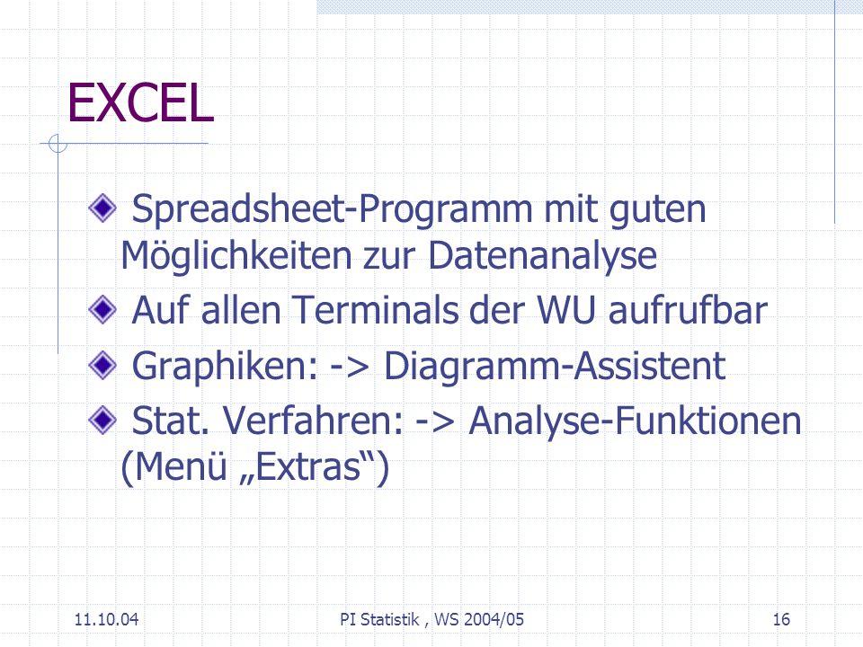 11.10.04PI Statistik, WS 2004/0516 EXCEL Spreadsheet-Programm mit guten Möglichkeiten zur Datenanalyse Auf allen Terminals der WU aufrufbar Graphiken: -> Diagramm-Assistent Stat.