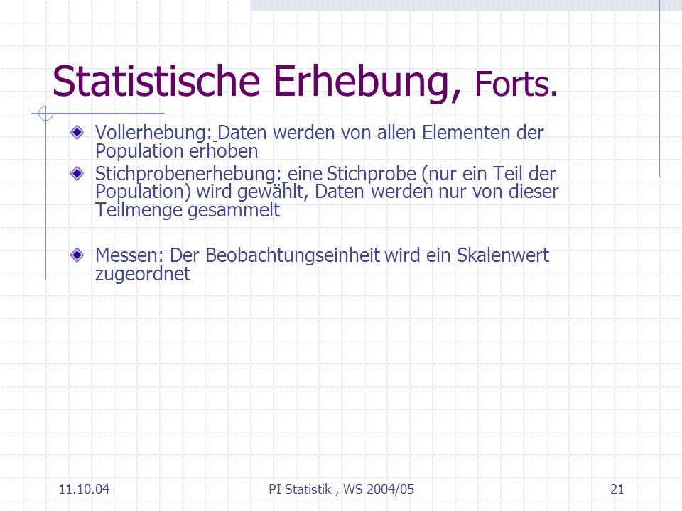 11.10.04PI Statistik, WS 2004/0521 Statistische Erhebung, Forts.