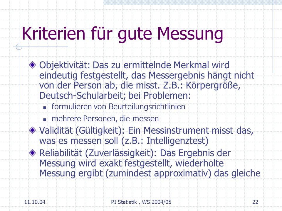 11.10.04PI Statistik, WS 2004/0522 Kriterien für gute Messung Objektivität: Das zu ermittelnde Merkmal wird eindeutig festgestellt, das Messergebnis hängt nicht von der Person ab, die misst.