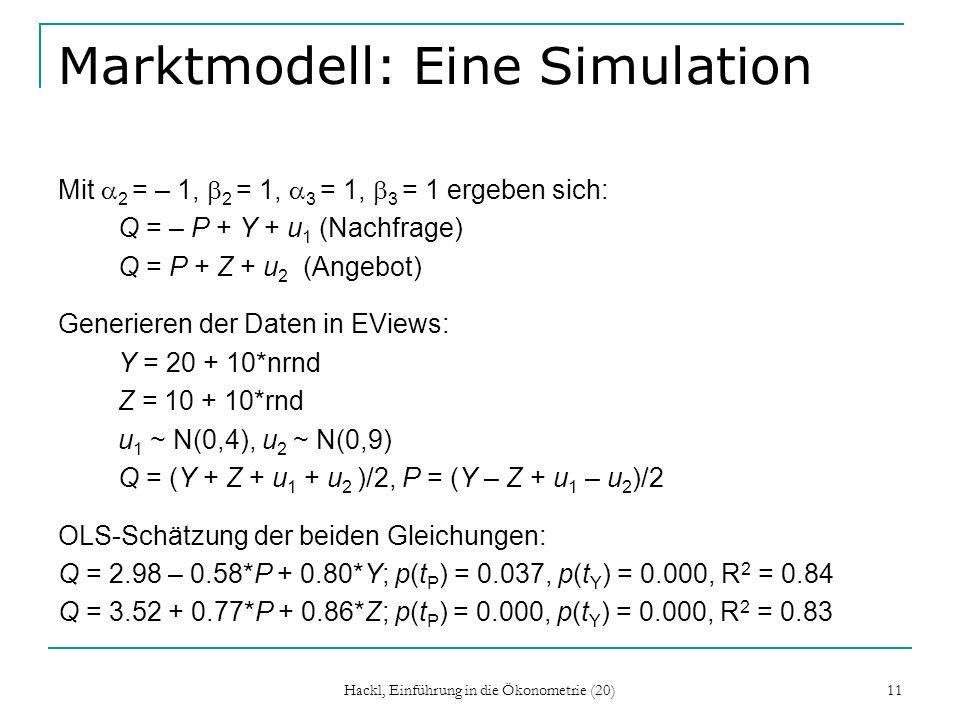 Hackl, Einführung in die Ökonometrie (20) 11 Marktmodell: Eine Simulation Mit 2 = – 1, 2 = 1, 3 = 1, 3 = 1 ergeben sich: Q = – P + Y + u 1 (Nachfrage) Q = P + Z + u 2 (Angebot) Generieren der Daten in EViews: Y = 20 + 10*nrnd Z = 10 + 10*rnd u 1 ~ N(0,4), u 2 ~ N(0,9) Q = (Y + Z + u 1 + u 2 )/2, P = (Y – Z + u 1 – u 2 )/2 OLS-Schätzung der beiden Gleichungen: Q = 2.98 – 0.58*P + 0.80*Y; p(t P ) = 0.037, p(t Y ) = 0.000, R 2 = 0.84 Q = 3.52 + 0.77*P + 0.86*Z; p(t P ) = 0.000, p(t Y ) = 0.000, R 2 = 0.83
