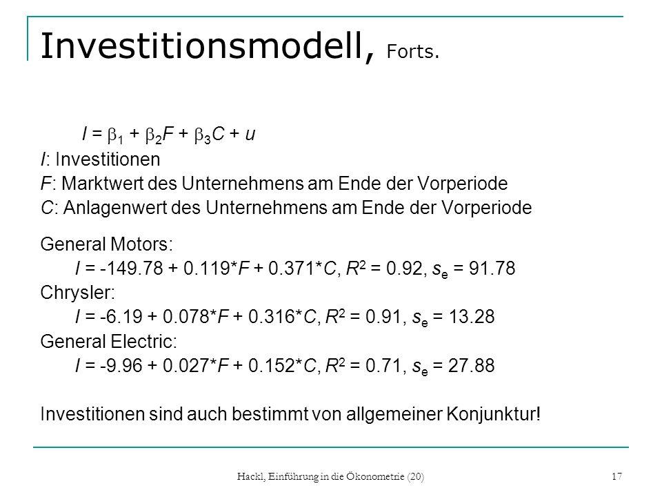 Hackl, Einführung in die Ökonometrie (20) 17 Investitionsmodell, Forts.