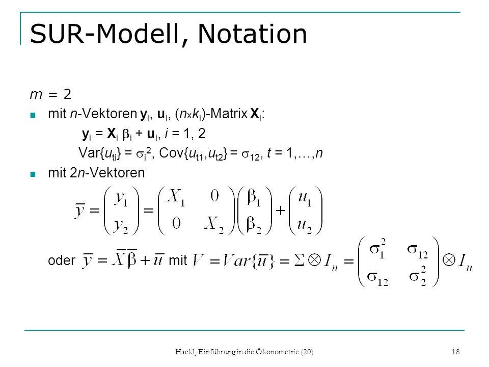 Hackl, Einführung in die Ökonometrie (20) 18 SUR-Modell, Notation m = 2 mit n-Vektoren y i, u i, (n x k i )-Matrix X i : y i = X i i + u i, i = 1, 2 Var{u ti } = i 2, Cov{u t1,u t2 } = 12, t = 1,…,n mit 2n-Vektoren oder mit