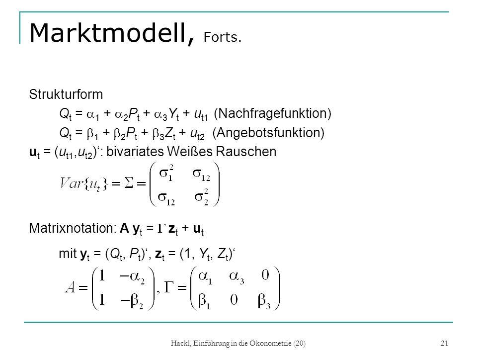 Hackl, Einführung in die Ökonometrie (20) 21 Marktmodell, Forts.