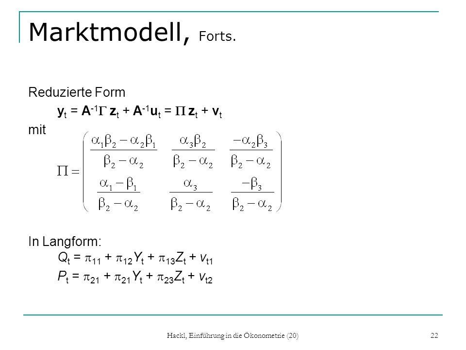 Hackl, Einführung in die Ökonometrie (20) 22 Marktmodell, Forts.