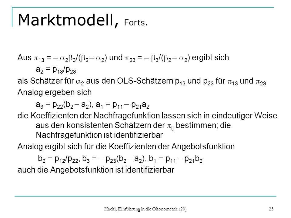Hackl, Einführung in die Ökonometrie (20) 25 Marktmodell, Forts.