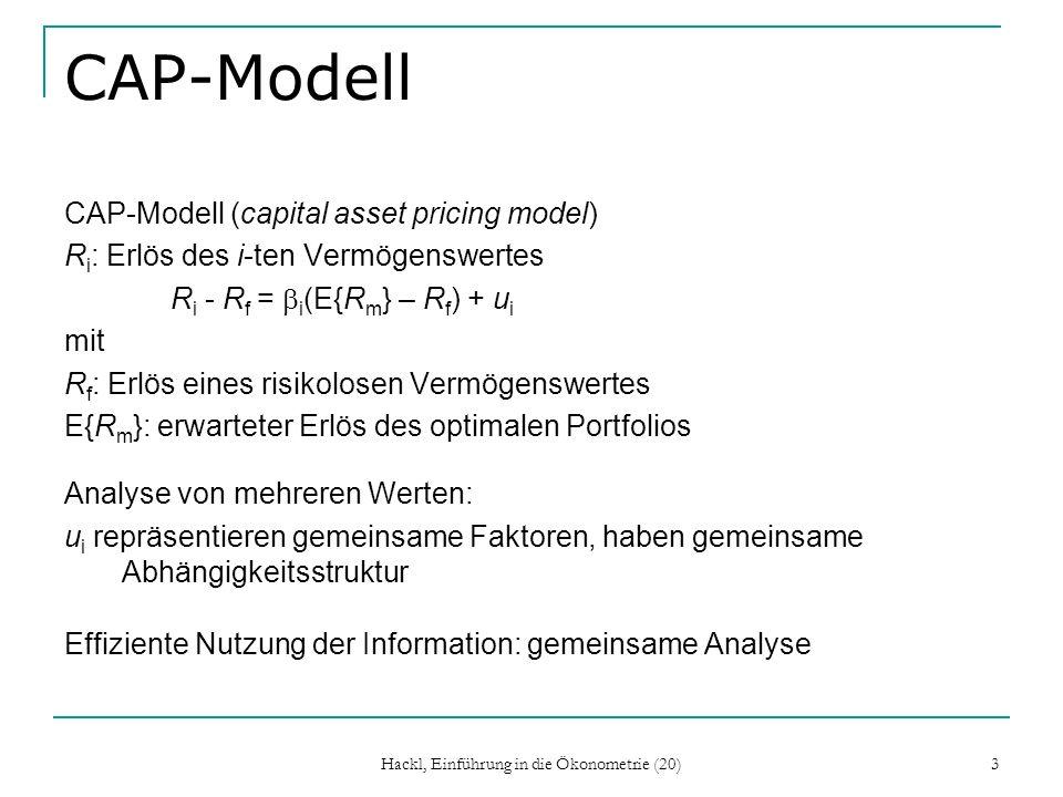 Hackl, Einführung in die Ökonometrie (20) 34 Praxis der Idenfizierbarkeitsprüfung 1.Ein Mehrgleichungs-Modell ist identifizierbar, wenn jede seiner Gleichungen identifizierbar ist 2.Gleichungen, die die Ordnungs-Bedingung erfüllen, erfüllen meist auch die Rang-Bedingung 3.Kleine Modelle sind meist leicht nach beiden Kriterien prüfbar; bei umfangreichen Modellen ist die Identifizierbarkeit der Gleichungen meist kein Problem (Modell enthält viele vorherbestimmten Variable) 4.Soll ein Regressor eliminiert werden.