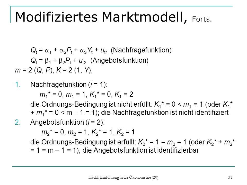 Hackl, Einführung in die Ökonometrie (20) 31 Modifiziertes Marktmodell, Forts.