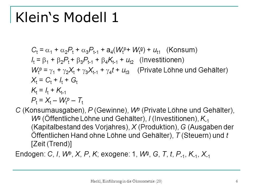 Hackl, Einführung in die Ökonometrie (20) 27 Noch ein Marktmodell Q t = 1 + 2 P t + 3 Y t + 3 Z t + u t1 (Nachfragefunktion) Q t = 1 + 2 P t + u t2 (Angebotsfunktion) 1.Angebotsfunktion: b 2 = p 12 /p 22, b 2 = p 13 /p 23 für beide Lösungen ergibt sich b 1 = p 11 – p 21 b 2 die Angebotsfunktion ist identifizierbar; man sagt, die Angebotsfunktion ist überidentifiziert 2.Die Nachfragefunktion ist unteridentifiziert