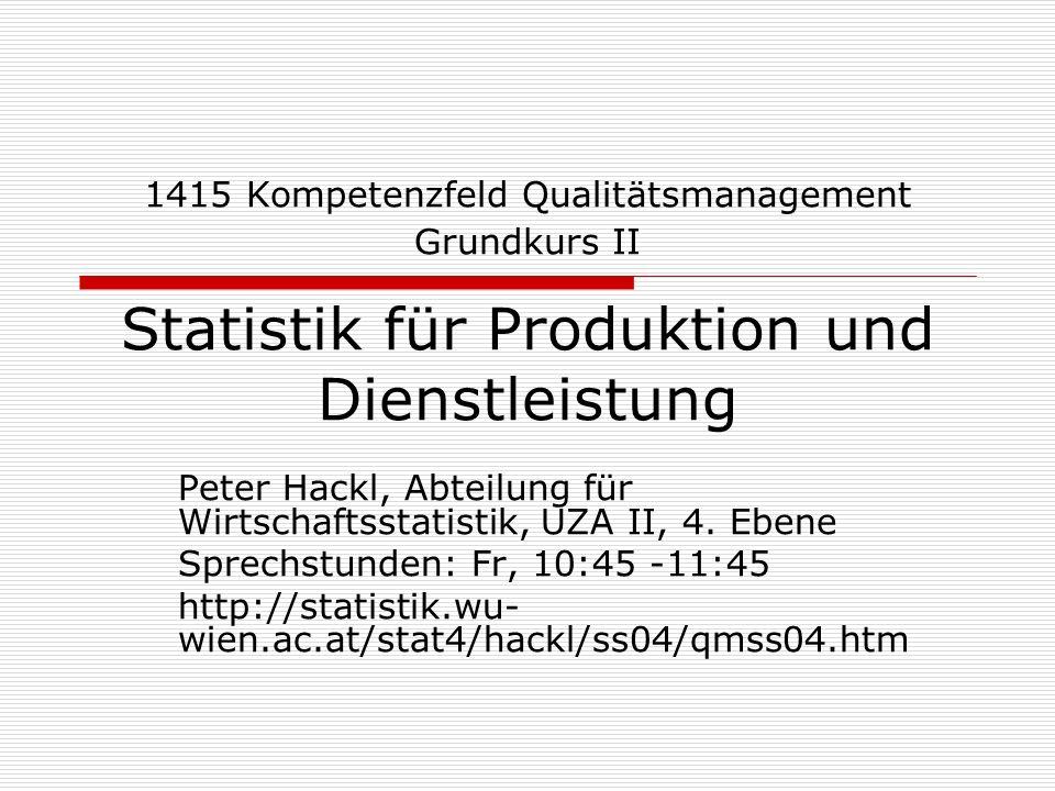 1415 Kompetenzfeld Qualitätsmanagement Grundkurs II Statistik für Produktion und Dienstleistung Peter Hackl, Abteilung für Wirtschaftsstatistik, UZA I