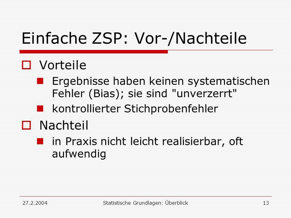 27.2.2004Statistische Grundlagen: Überblick13 Einfache ZSP: Vor-/Nachteile Vorteile Ergebnisse haben keinen systematischen Fehler (Bias); sie sind
