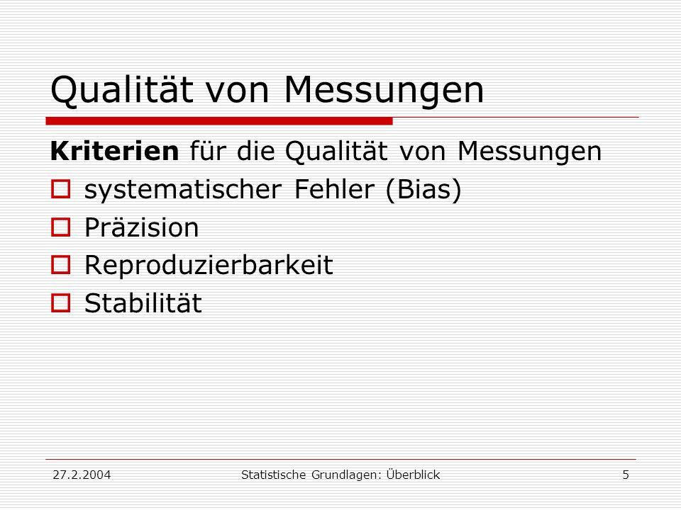 27.2.2004Statistische Grundlagen: Überblick5 Qualität von Messungen Kriterien für die Qualität von Messungen systematischer Fehler (Bias) Präzision Re