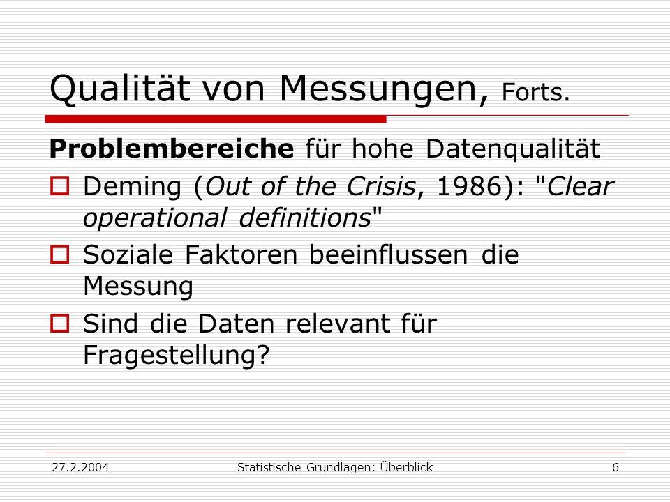 27.2.2004Statistische Grundlagen: Überblick6 Qualität von Messungen, Forts. Problembereiche für hohe Datenqualität Deming (Out of the Crisis, 1986):