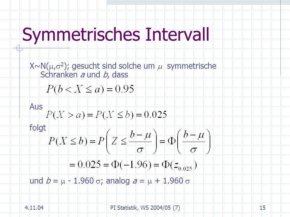 4.11.04PI Statistik, WS 2004/05 (7)15 Symmetrisches Intervall X~N(, 2 ); gesucht sind solche um symmetrische Schranken a und b, dass Aus folgt und b =