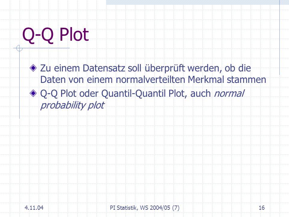 4.11.04PI Statistik, WS 2004/05 (7)16 Q-Q Plot Zu einem Datensatz soll überprüft werden, ob die Daten von einem normalverteilten Merkmal stammen Q-Q P
