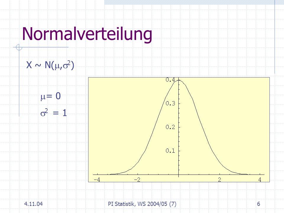 4.11.04PI Statistik, WS 2004/05 (7)6 Normalverteilung X ~ N(, 2 ) = 0 2 = 1