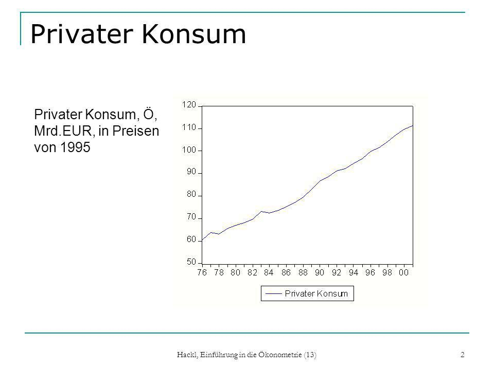 Hackl, Einführung in die Ökonometrie (13) 3 Privater Konsum, Forts.