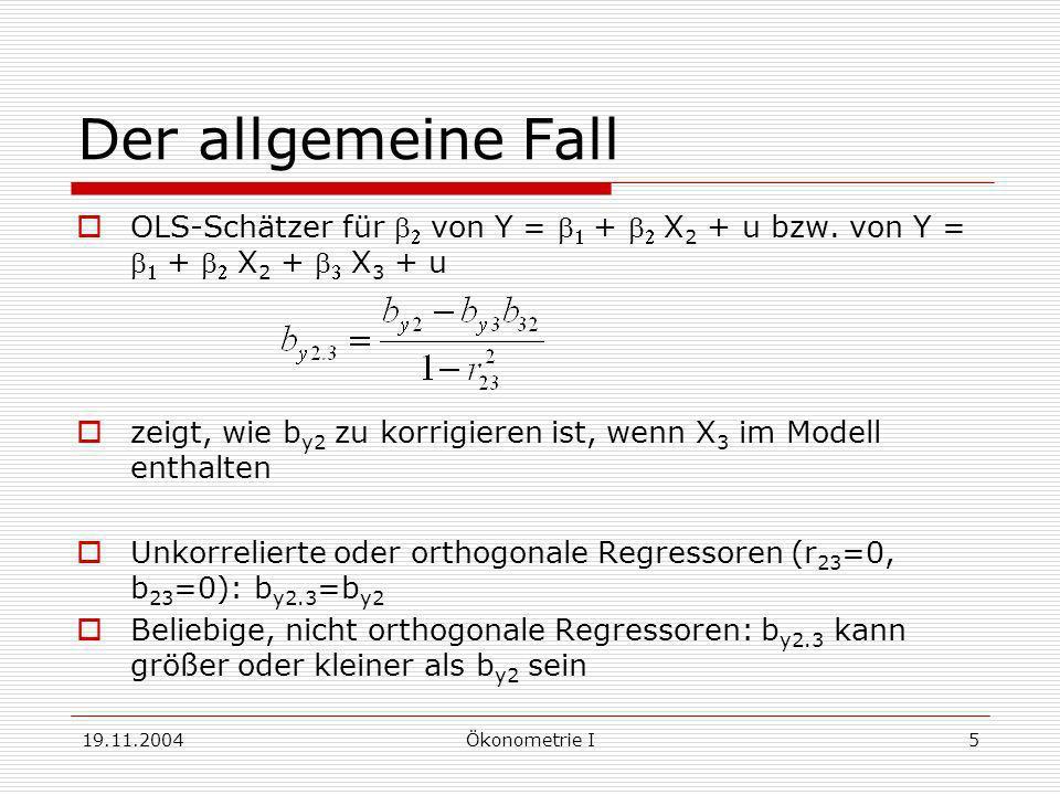 19.11.2004Ökonometrie I5 Der allgemeine Fall OLS-Schätzer für von Y = + X 2 + u bzw. von Y = + X 2 + X 3 + u zeigt, wie b y2 zu korrigieren ist, wenn
